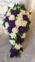 WEDDING FLOWERS IVORY/PURPLE ROSE BRIDE SHOWER TEARDROP BOUQUET ARTIFICIAL